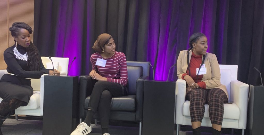 Goldie Patrick with YWAC Fellows Kiran Waqar and Alicia Butler during Declare Equity for Girls Panel
